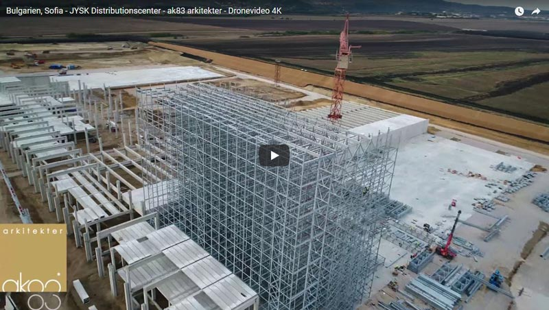 Drone Video - See the construction of JYSK's distribution center in Bulgaria